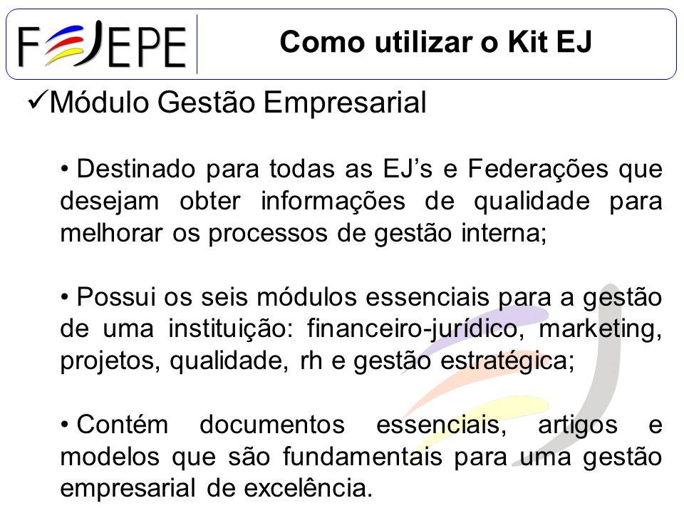 Como utilizar o Kit EJ Módulo Gestão Empresarial Destinado para todas as EJs e Federações que desejam obter informações de qualidade para melhorar os