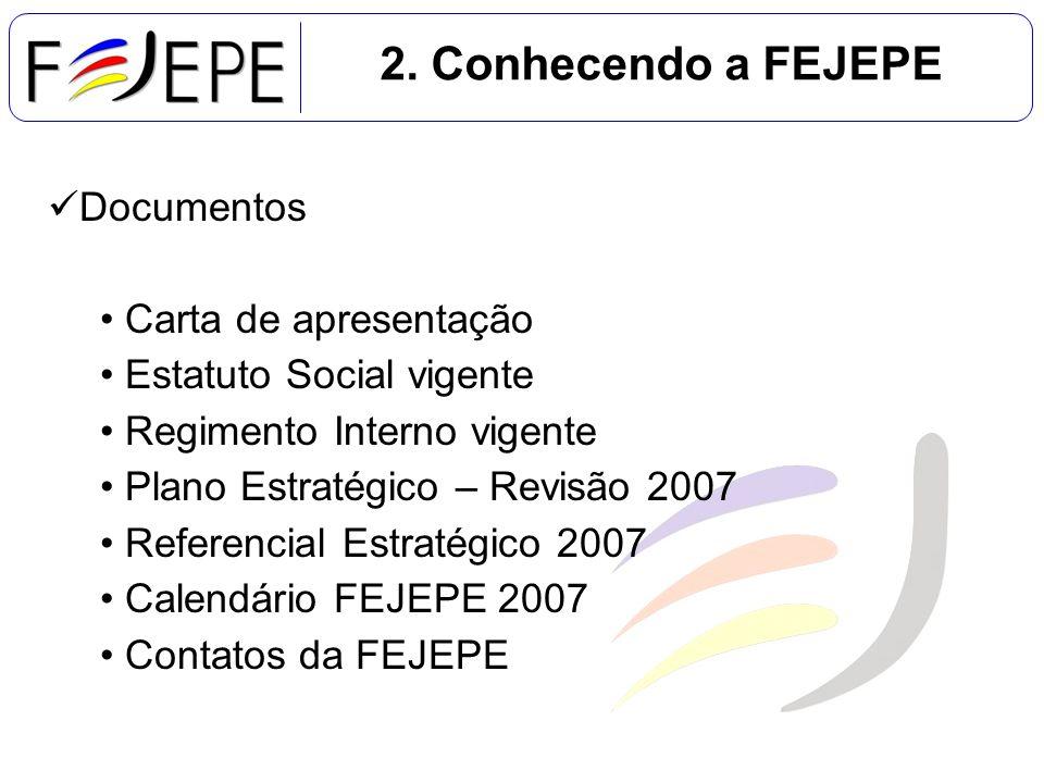 2. Conhecendo a FEJEPE Documentos Carta de apresentação Estatuto Social vigente Regimento Interno vigente Plano Estratégico – Revisão 2007 Referencial