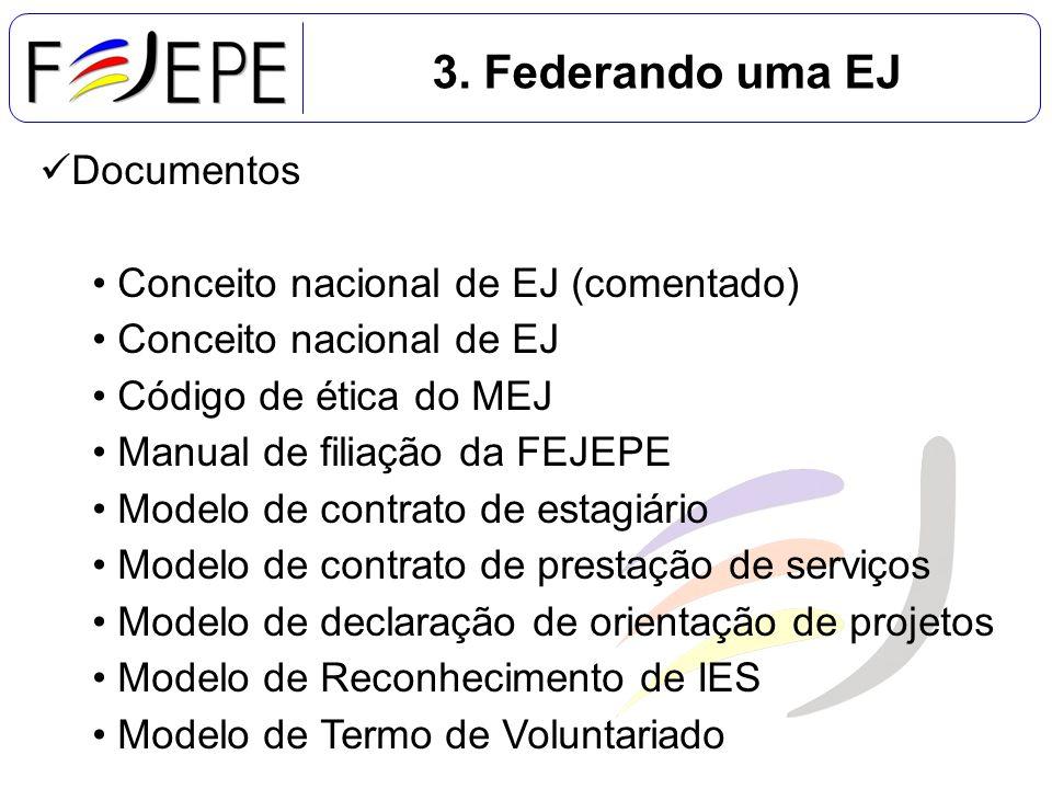 3. Federando uma EJ Documentos Conceito nacional de EJ (comentado) Conceito nacional de EJ Código de ética do MEJ Manual de filiação da FEJEPE Modelo