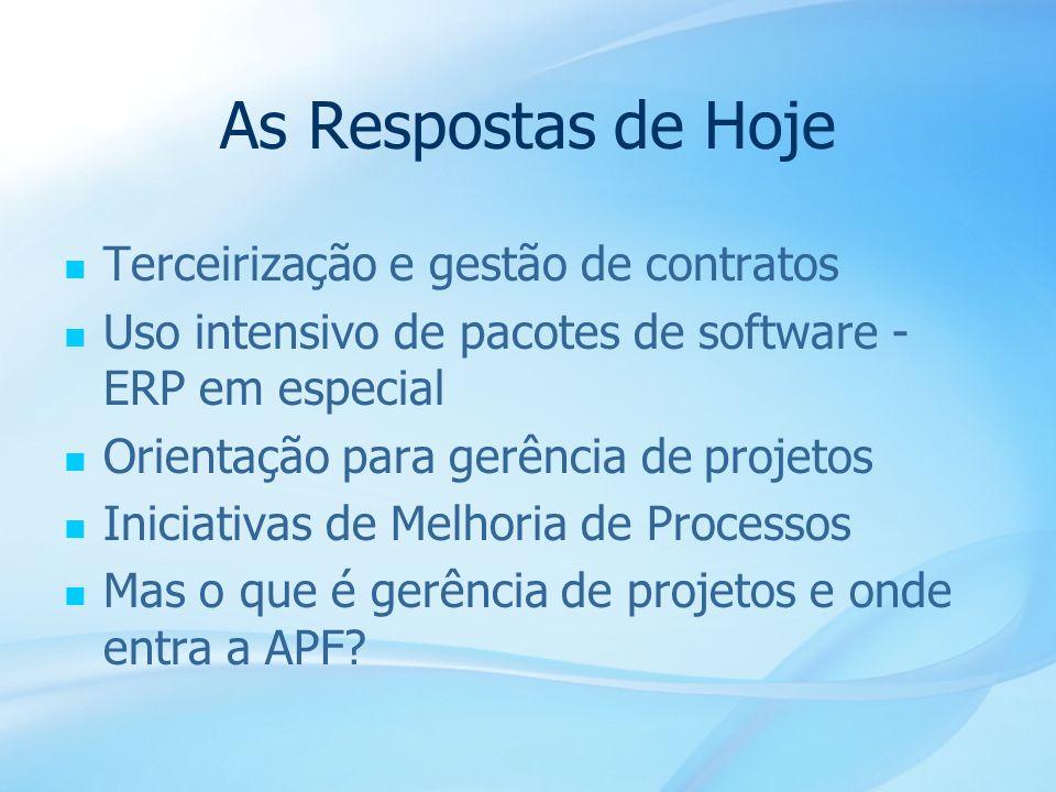 11 As Respostas de Hoje Terceirização e gestão de contratos Uso intensivo de pacotes de software - ERP em especial Orientação para gerência de projeto