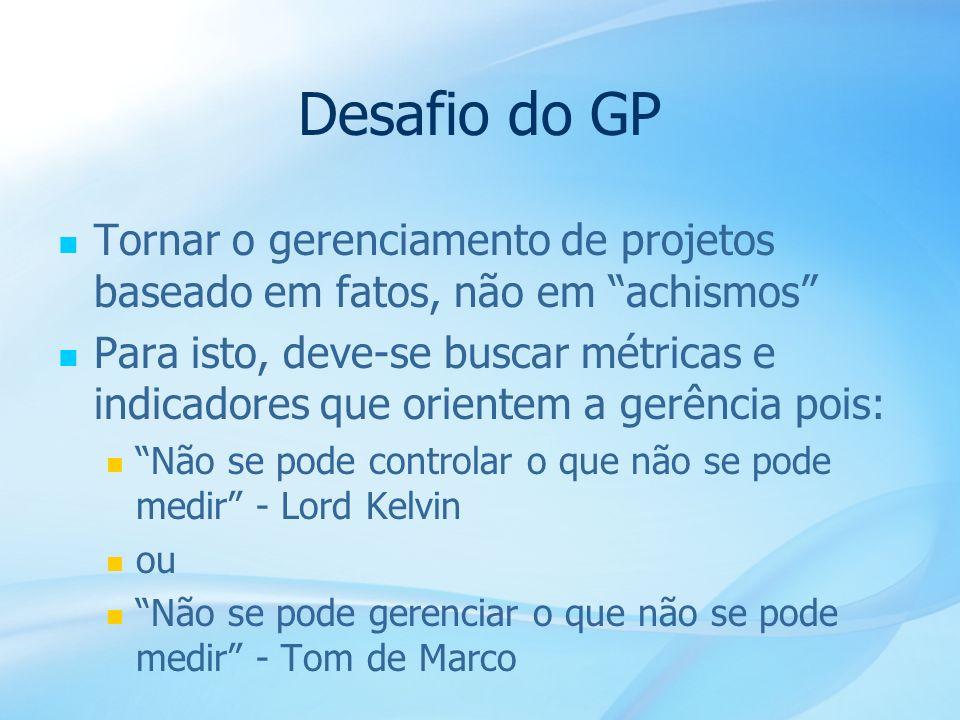 13 Desafio do GP Tornar o gerenciamento de projetos baseado em fatos, não em achismos Para isto, deve-se buscar métricas e indicadores que orientem a