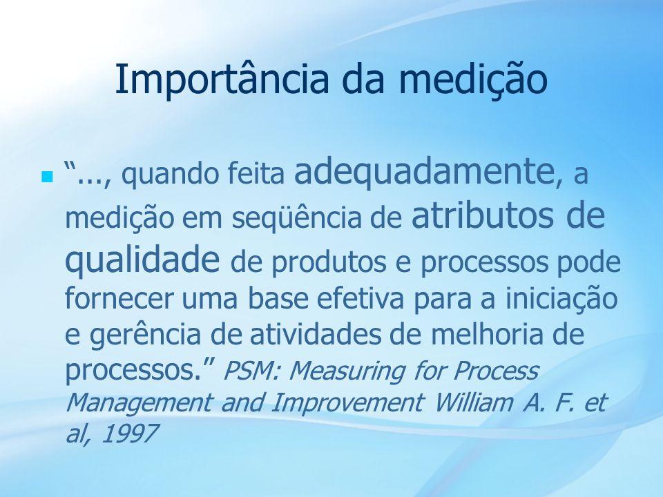 14 Importância da medição..., quando feita adequadamente, a medição em seqüência de atributos de qualidade de produtos e processos pode fornecer uma b