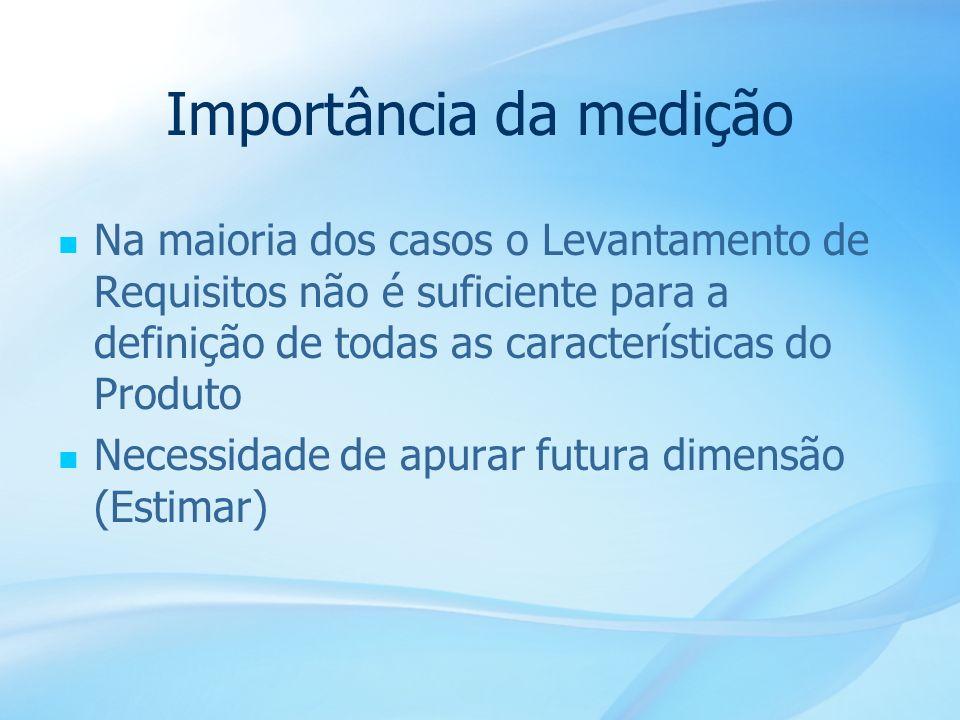 15 Importância da medição Na maioria dos casos o Levantamento de Requisitos não é suficiente para a definição de todas as características do Produto N