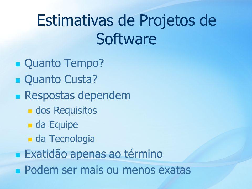 17 Estimativas de Projetos de Software Quanto Tempo? Quanto Custa? Respostas dependem dos Requisitos da Equipe da Tecnologia Exatidão apenas ao términ