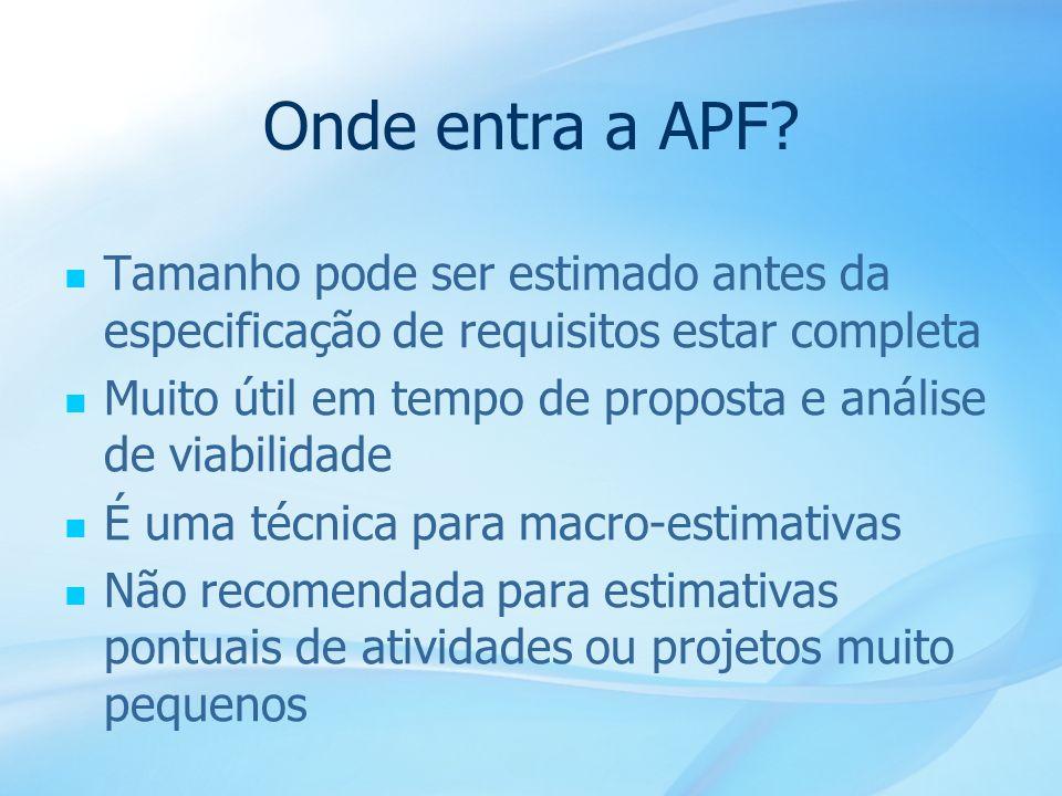 18 Onde entra a APF? Tamanho pode ser estimado antes da especificação de requisitos estar completa Muito útil em tempo de proposta e análise de viabil
