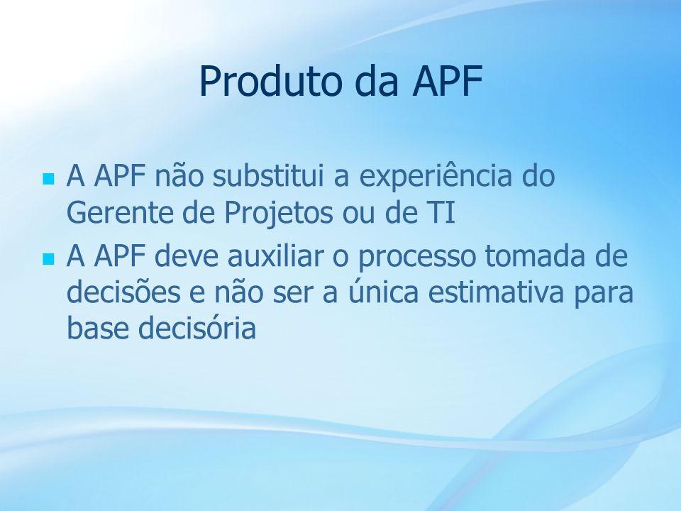 20 Produto da APF A APF não substitui a experiência do Gerente de Projetos ou de TI A APF deve auxiliar o processo tomada de decisões e não ser a únic