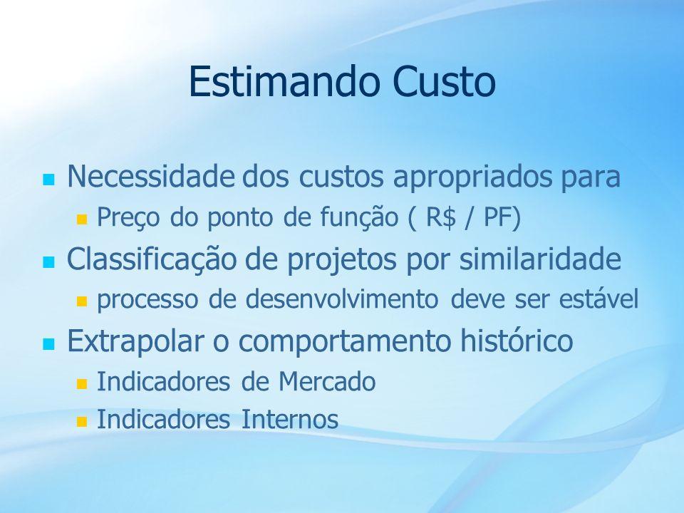 25 Estimando Custo Necessidade dos custos apropriados para Preço do ponto de função ( R$ / PF) Classificação de projetos por similaridade processo de