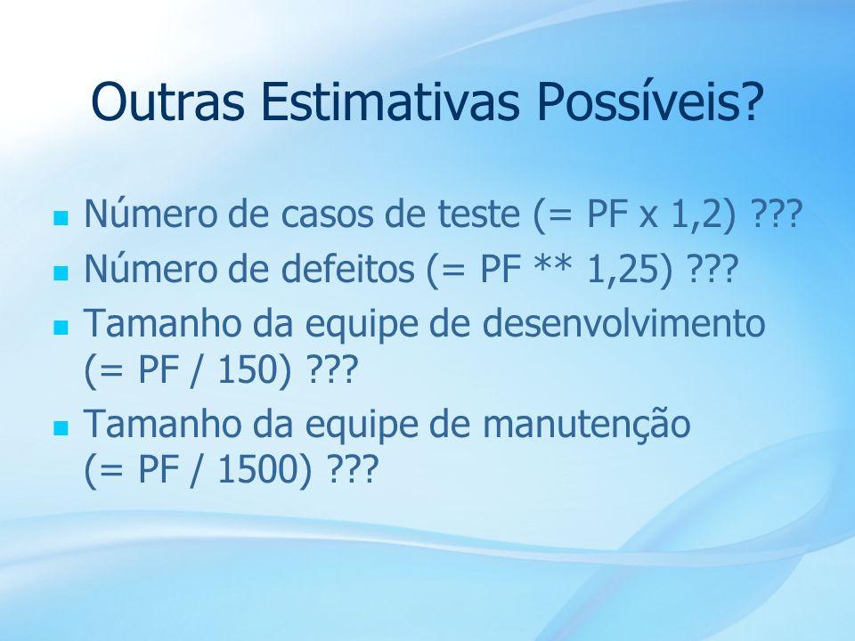 27 Outras Estimativas Possíveis? Número de casos de teste (= PF x 1,2) ??? Número de defeitos (= PF ** 1,25) ??? Tamanho da equipe de desenvolvimento