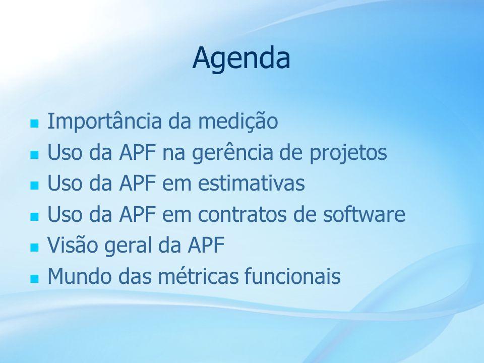 3 Agenda Importância da medição Uso da APF na gerência de projetos Uso da APF em estimativas Uso da APF em contratos de software Visão geral da APF Mu