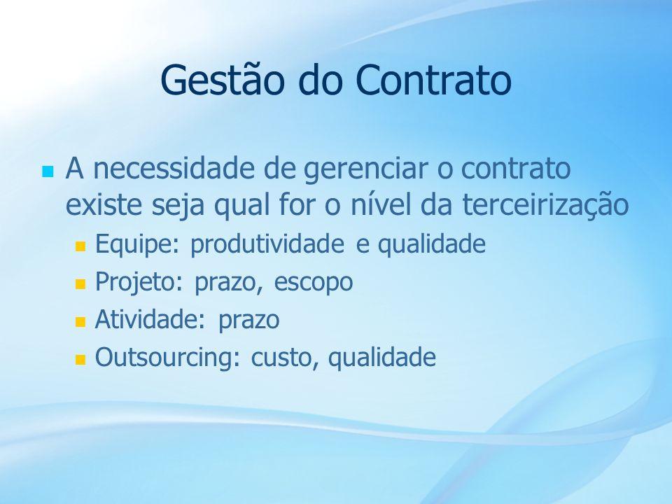 30 Gestão do Contrato A necessidade de gerenciar o contrato existe seja qual for o nível da terceirização Equipe: produtividade e qualidade Projeto: p