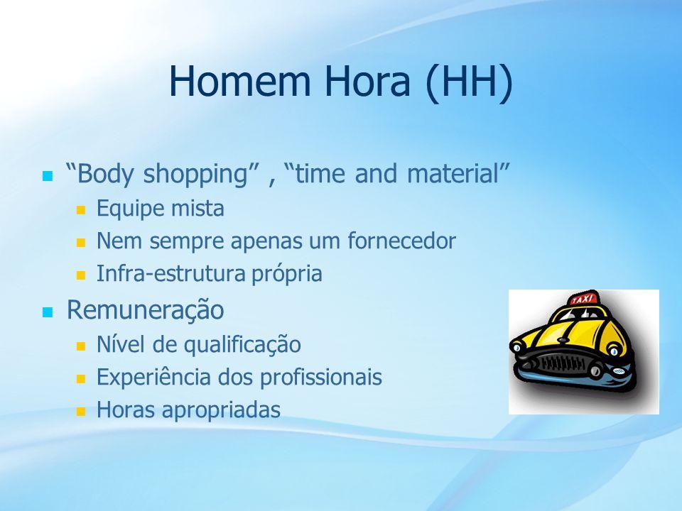 32 Homem Hora (HH) Body shopping, time and material Equipe mista Nem sempre apenas um fornecedor Infra-estrutura própria Remuneração Nível de qualific