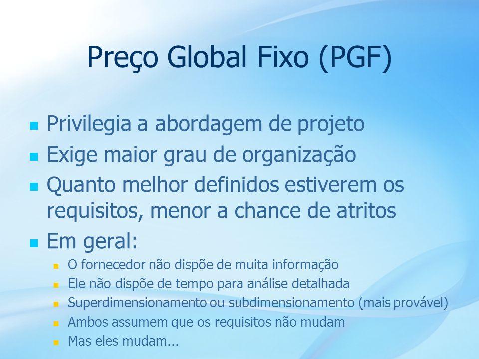 35 Preço Global Fixo (PGF) Privilegia a abordagem de projeto Exige maior grau de organização Quanto melhor definidos estiverem os requisitos, menor a