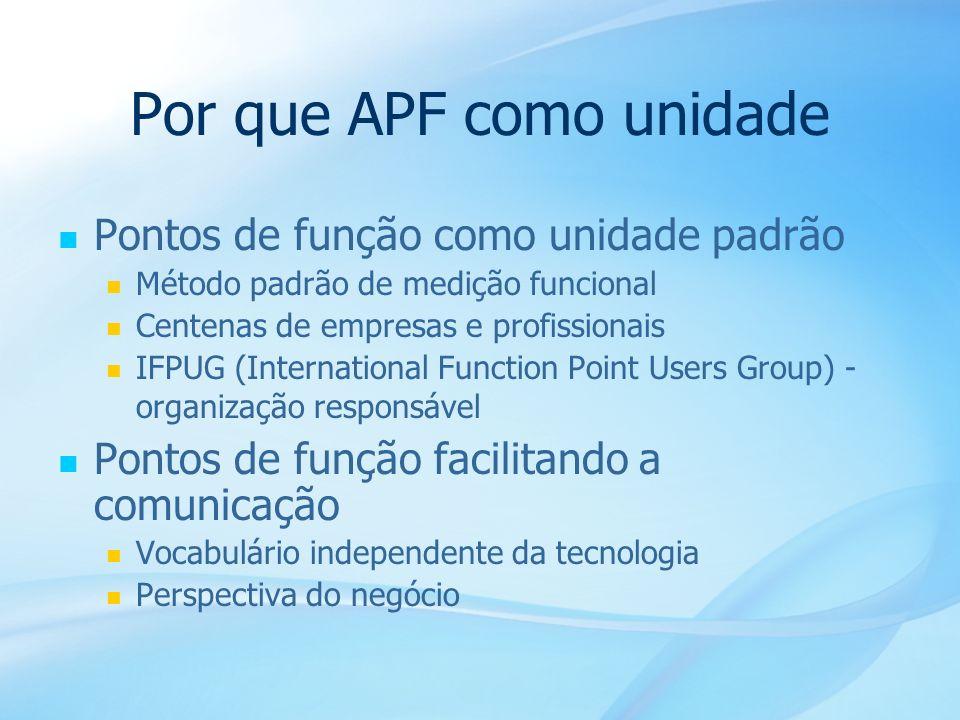 40 Por que APF como unidade Pontos de função como unidade padrão Método padrão de medição funcional Centenas de empresas e profissionais IFPUG (Intern