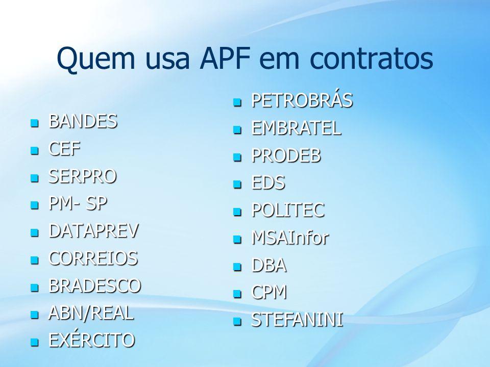 44 Quem usa APF em contratos BANDES BANDES CEF CEF SERPRO SERPRO PM- SP PM- SP DATAPREV DATAPREV CORREIOS CORREIOS BRADESCO BRADESCO ABN/REAL ABN/REAL