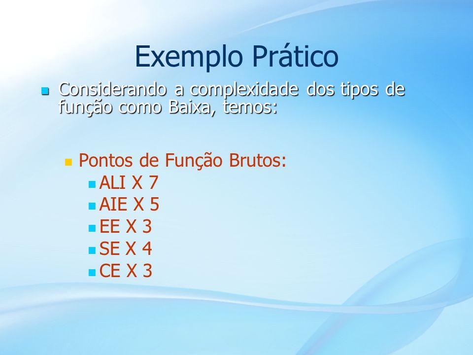 48 Exemplo Prático Considerando a complexidade dos tipos de função como Baixa, temos: Considerando a complexidade dos tipos de função como Baixa, temo