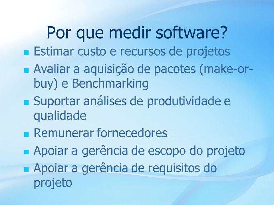 5 Estimar custo e recursos de projetos Avaliar a aquisição de pacotes (make-or- buy) e Benchmarking Suportar análises de produtividade e qualidade Rem