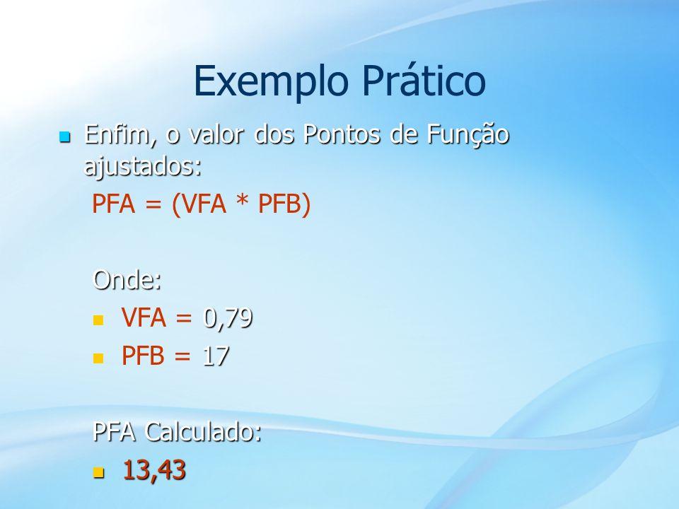53 Exemplo Prático Enfim, o valor dos Pontos de Função ajustados: Enfim, o valor dos Pontos de Função ajustados: PFA = (VFA * PFB)Onde: 0,79 VFA = 0,7