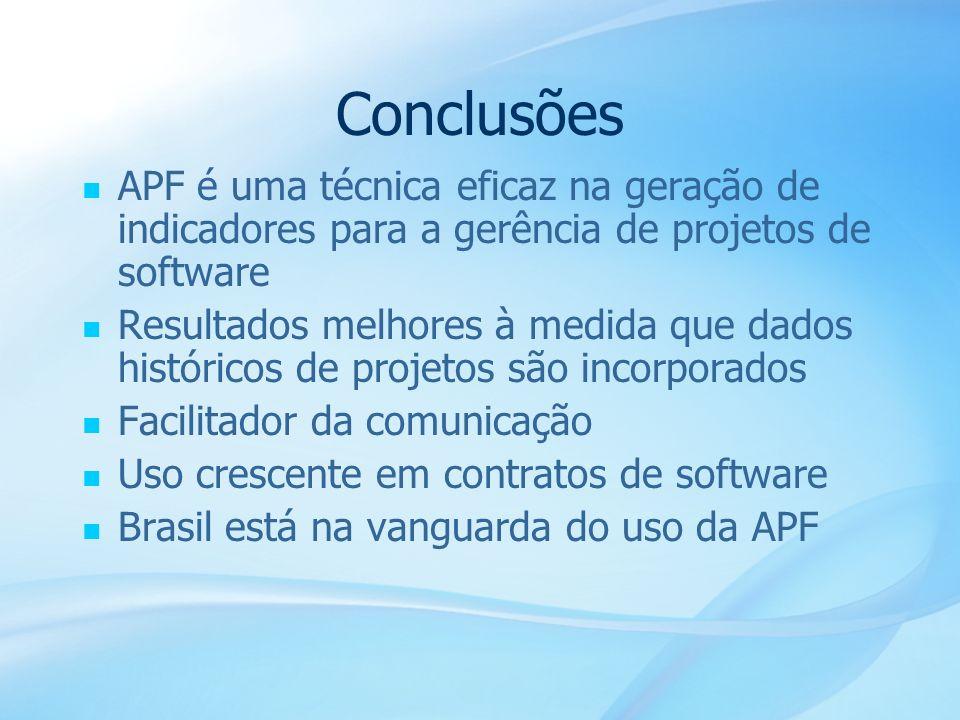 55 Conclusões APF é uma técnica eficaz na geração de indicadores para a gerência de projetos de software Resultados melhores à medida que dados histór