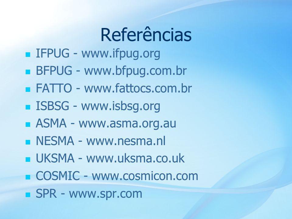 56 Referências IFPUG - www.ifpug.org BFPUG - www.bfpug.com.br FATTO - www.fattocs.com.br ISBSG - www.isbsg.org ASMA - www.asma.org.au NESMA - www.nesm