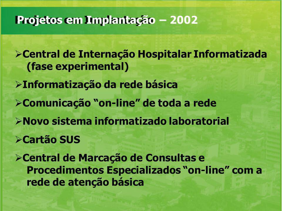 Projetos em ImplantaçãoProjetos em Implantação – 2002 Central de Internação Hospitalar Informatizada (fase experimental) Informatização da rede básica