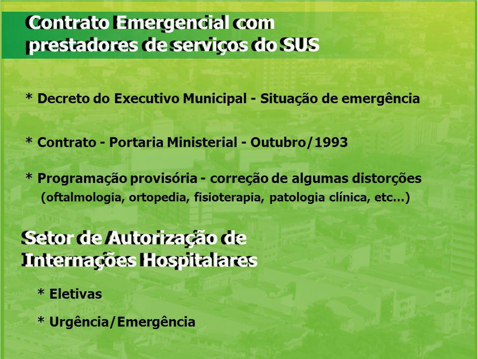 Contrato Emergencial com prestadores de serviços do SUS * Decreto do Executivo Municipal - Situação de emergência * Contrato - Portaria Ministerial -