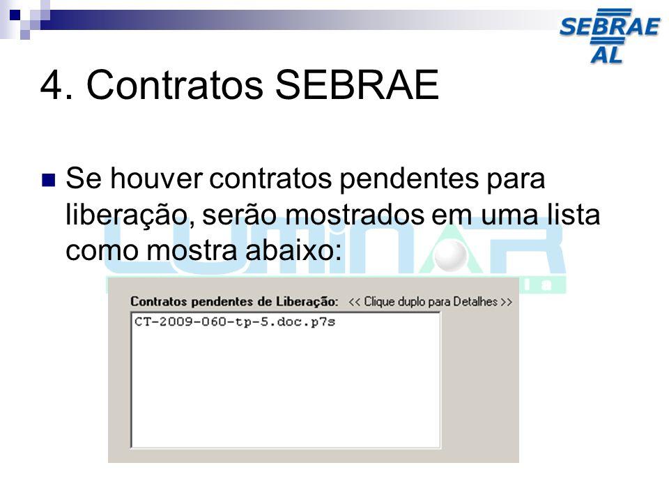 4. Contratos SEBRAE Se houver contratos pendentes para liberação, serão mostrados em uma lista como mostra abaixo: