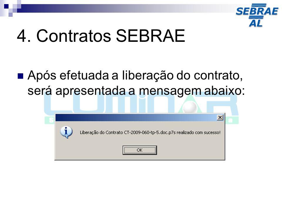 4. Contratos SEBRAE Após efetuada a liberação do contrato, será apresentada a mensagem abaixo: