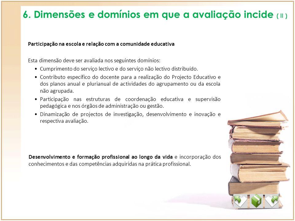 6. Dimensões e domínios em que a avaliação incide ( II ) Participação na escola e relação com a comunidade educativa Esta dimensão deve ser avaliada n