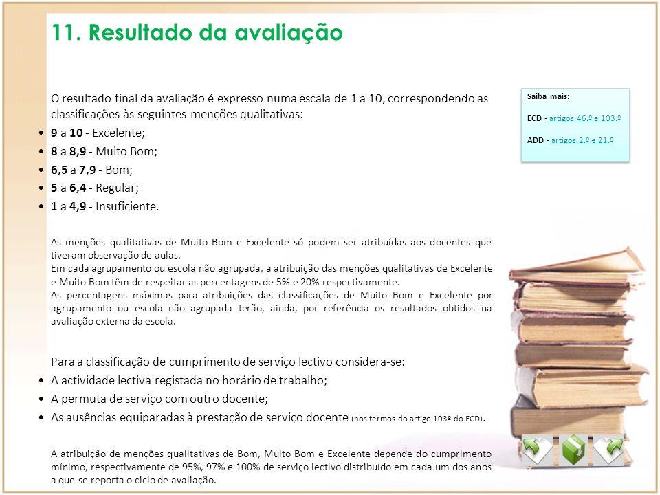 11. Resultado da avaliação O resultado final da avaliação é expresso numa escala de 1 a 10, correspondendo as classificações às seguintes menções qual