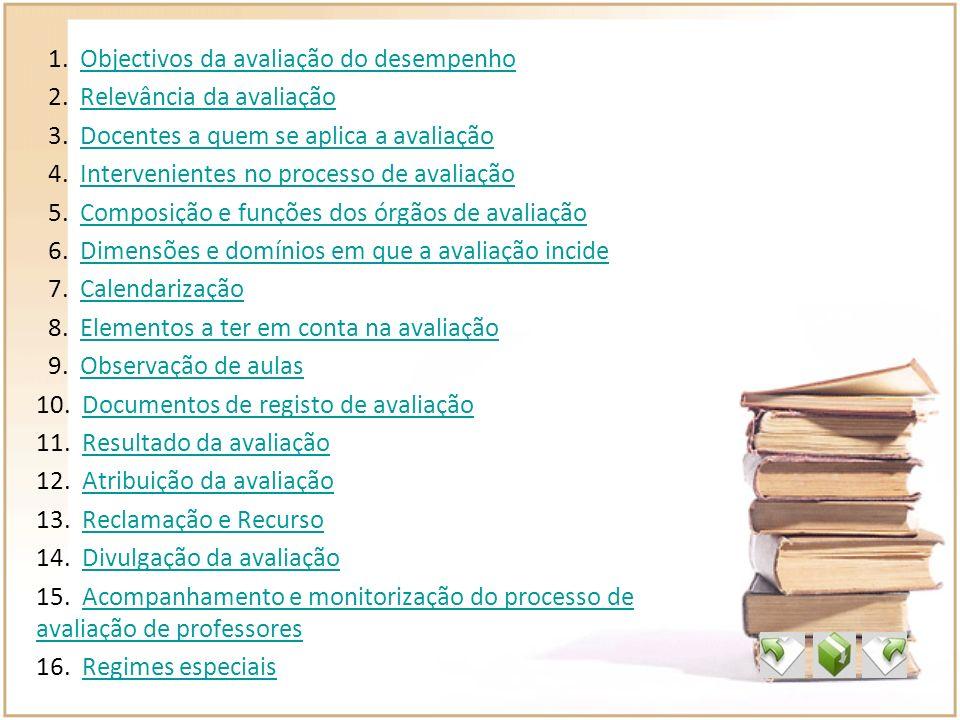 1. Objectivos da avaliação do desempenhoObjectivos da avaliação do desempenho 2. Relevância da avaliaçãoRelevância da avaliação 3. Docentes a quem se