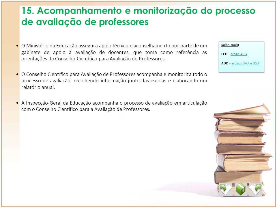 15. Acompanhamento e monitorização do processo de avaliação de professores O Ministério da Educação assegura apoio técnico e aconselhamento por parte