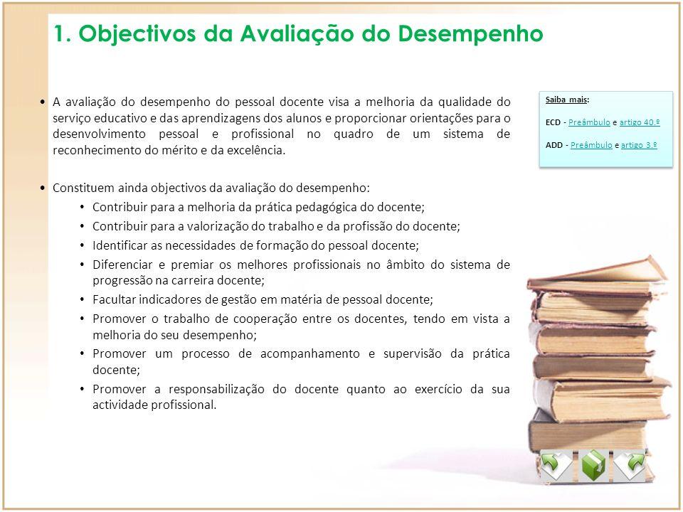 1. Objectivos da Avaliação do Desempenho A avaliação do desempenho do pessoal docente visa a melhoria da qualidade do serviço educativo e das aprendiz