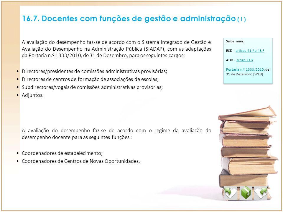 16.7. Docentes com funções de gestão e administração ( I ) Saiba mais: ECD - artigos 41.º e 48.ºartigos 41.º e 48.º ADD - artigo 31.ºartigo 31.º Porta