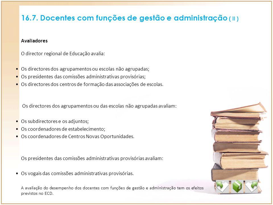 16.7. Docentes com funções de gestão e administração ( II ) A avaliação do desempenho dos docentes com funções de gestão e administração tem os efeito