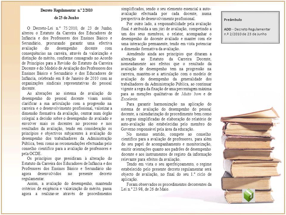 Decreto Regulamentar n.º 2/2010 de 23 de Junho O Decreto-Lei n.º 75/2010, de 23 de Junho, alterou o Estatuto da Carreira dos Educadores de Infância e