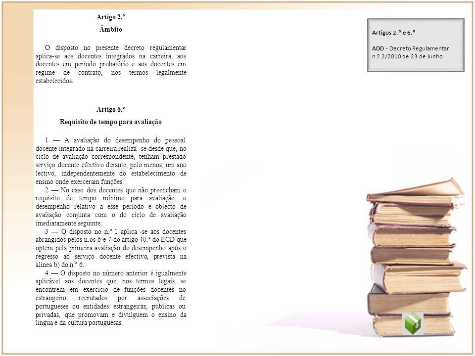 Artigo 2.º Âmbito O disposto no presente decreto regulamentar aplica-se aos docentes integrados na carreira, aos docentes em período probatório e aos