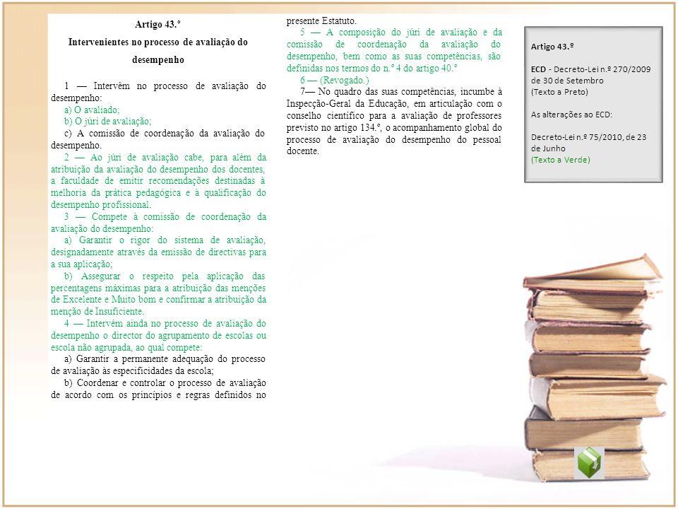Artigo 43.º Intervenientes no processo de avaliação do desempenho 1 Intervêm no processo de avaliação do desempenho: a) O avaliado; b) O júri de avali