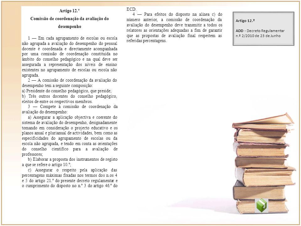 Artigo 12.º Comissão de coordenação da avaliação do desempenho 1 Em cada agrupamento de escolas ou escola não agrupada a avaliação do desempenho do pe