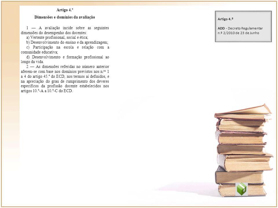 Artigo 4.º Dimensões e domínios da avaliação 1 A avaliação incide sobre as seguintes dimensões do desempenho dos docentes: a) Vertente profissional, s