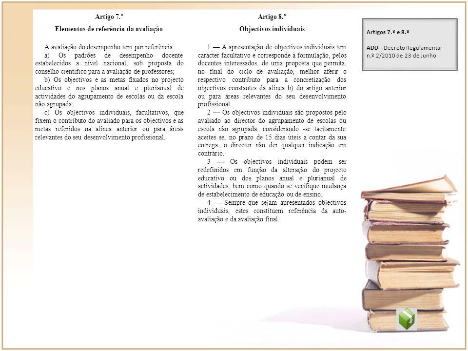 Artigo 7.º Elementos de referência da avaliação A avaliação do desempenho tem por referência: a) Os padrões de desempenho docente estabelecidos a níve
