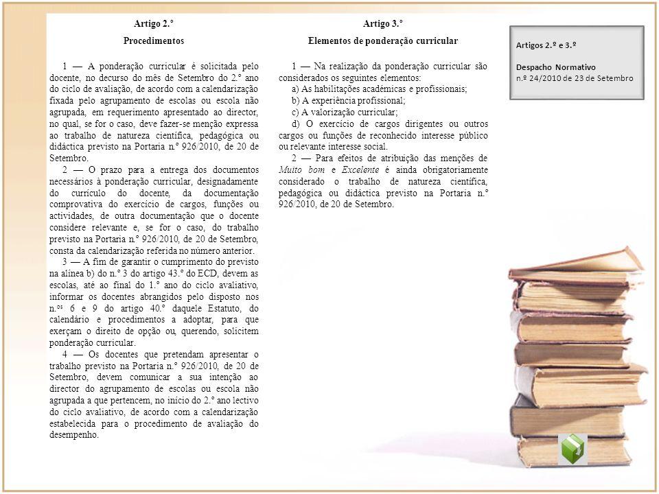 Artigo 2.º Procedimentos 1 A ponderação curricular é solicitada pelo docente, no decurso do mês de Setembro do 2.º ano do ciclo de avaliação, de acord