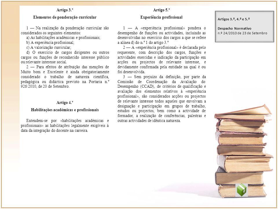 Artigo 3.º Elementos de ponderação curricular 1 Na realização da ponderação curricular são considerados os seguintes elementos: a) As habilitações aca