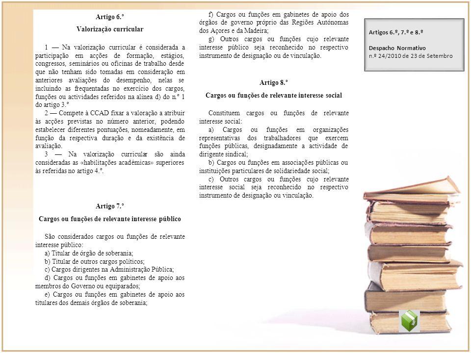 Artigo 6.º Valorização curricular 1 Na valorização curricular é considerada a participação em acções de formação, estágios, congressos, seminários ou