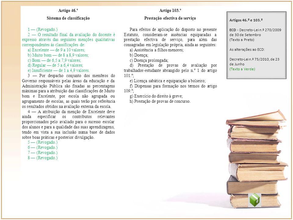 Artigo 46.º Sistema de classificação 1 (Revogado.) 2 O resultado final da avaliação do docente é expresso através das seguintes menções qualitativas c