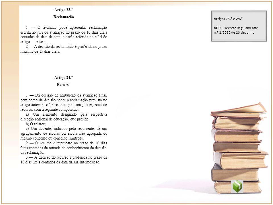 Artigo 23.º Reclamação 1 O avaliado pode apresentar reclamação escrita ao júri de avaliação no prazo de 10 dias úteis contados da data da comunicação
