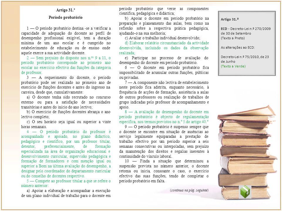Artigo 31.º Período probatório 1 O período probatório destina -se a verificar a capacidade de adequação do docente ao perfil de desempenho profissiona