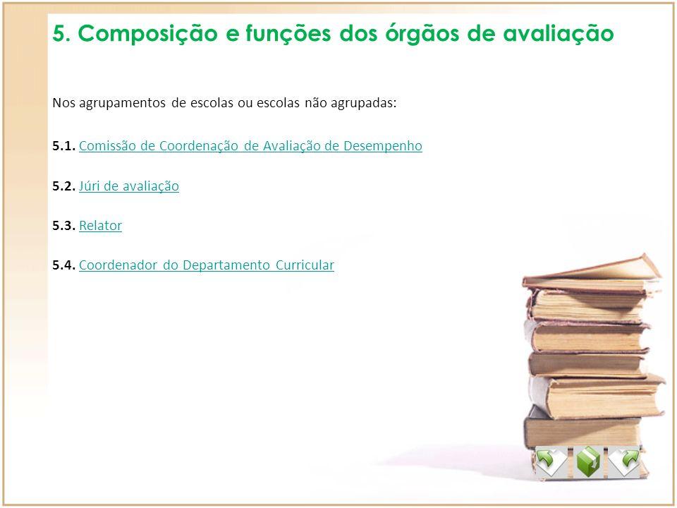 5. Composição e funções dos órgãos de avaliação Nos agrupamentos de escolas ou escolas não agrupadas: 5.1. Comissão de Coordenação de Avaliação de Des