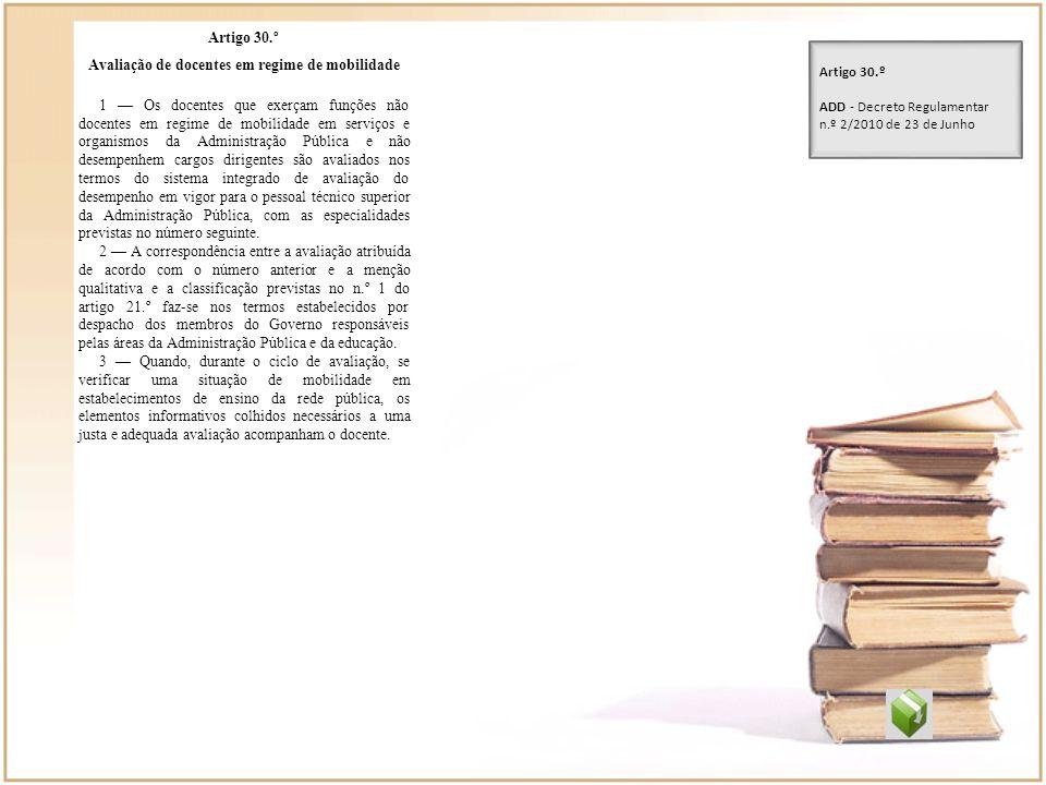 Artigo 30.º Avaliação de docentes em regime de mobilidade 1 Os docentes que exerçam funções não docentes em regime de mobilidade em serviços e organis