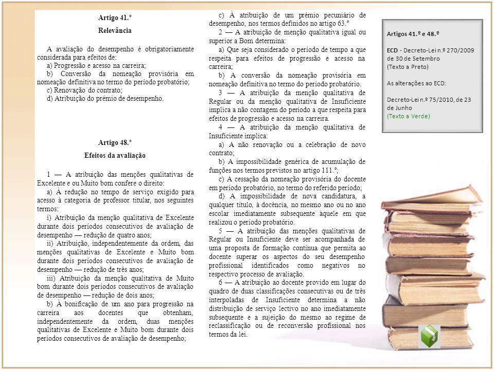 Artigo 41.º Relevância A avaliação do desempenho é obrigatoriamente considerada para efeitos de: a) Progressão e acesso na carreira; b) Conversão da n