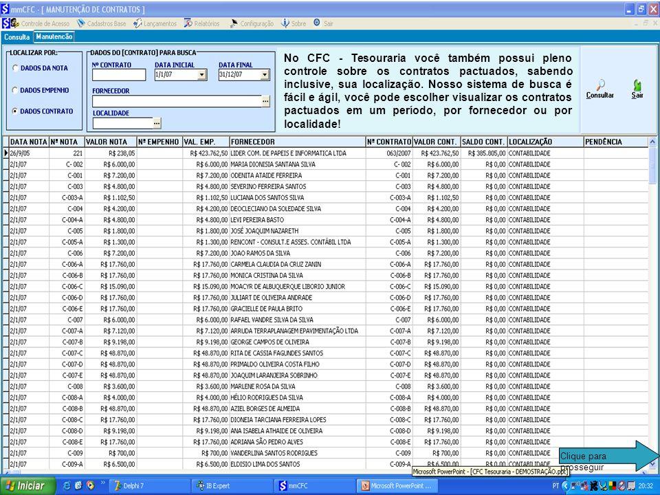 No relatório de controle de empenhos/contratos você pode visualizar a situação dos empenhos e notas de cada fornecedor, podendo filtrar sua busca, pel